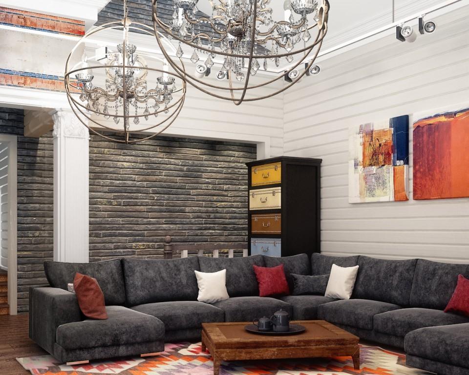 """дизайн проект дома """"ТЕРЕМ"""", гостиная ."""