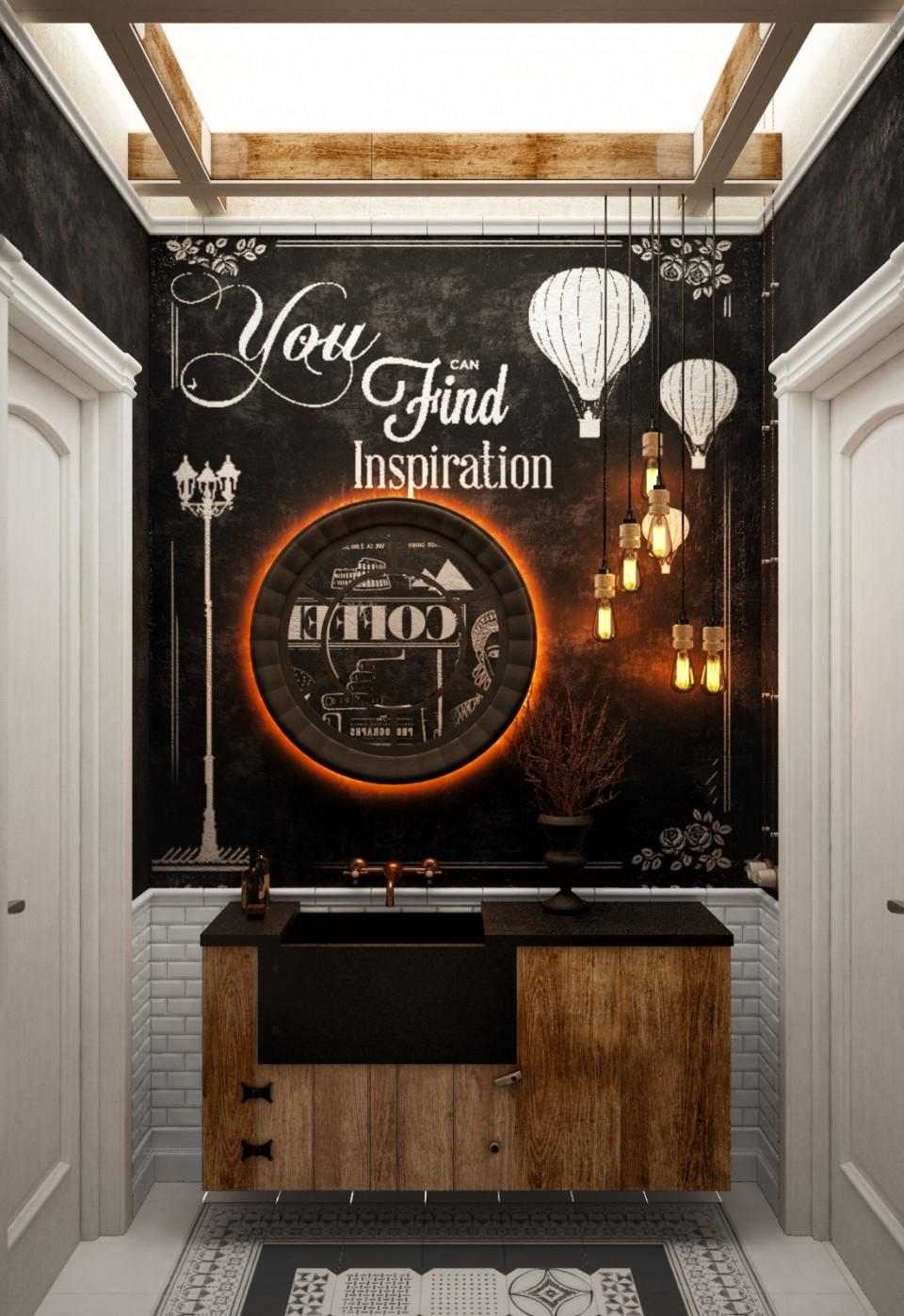 дизайн проект ресторана МАМА, Киев, лофт
