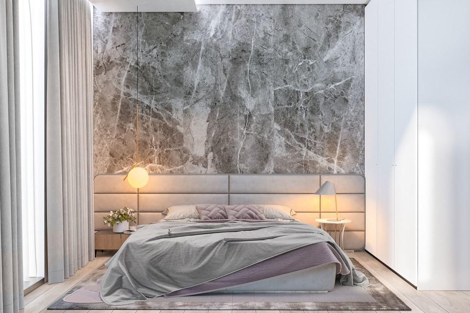 интерьер, дизайн, дизайн интерьера, проект, разработка, современный, современный интерьер, светлый, белый, загородный дом, частный дом, спальня