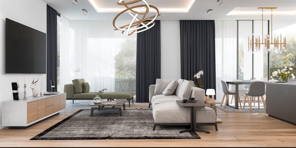 интерьер, дизайн, дизайн интерьера, проект, разработка, современный, современный интерьер, светлый, белый, загородный дом, частный дом, гостиная, кухня, столовая