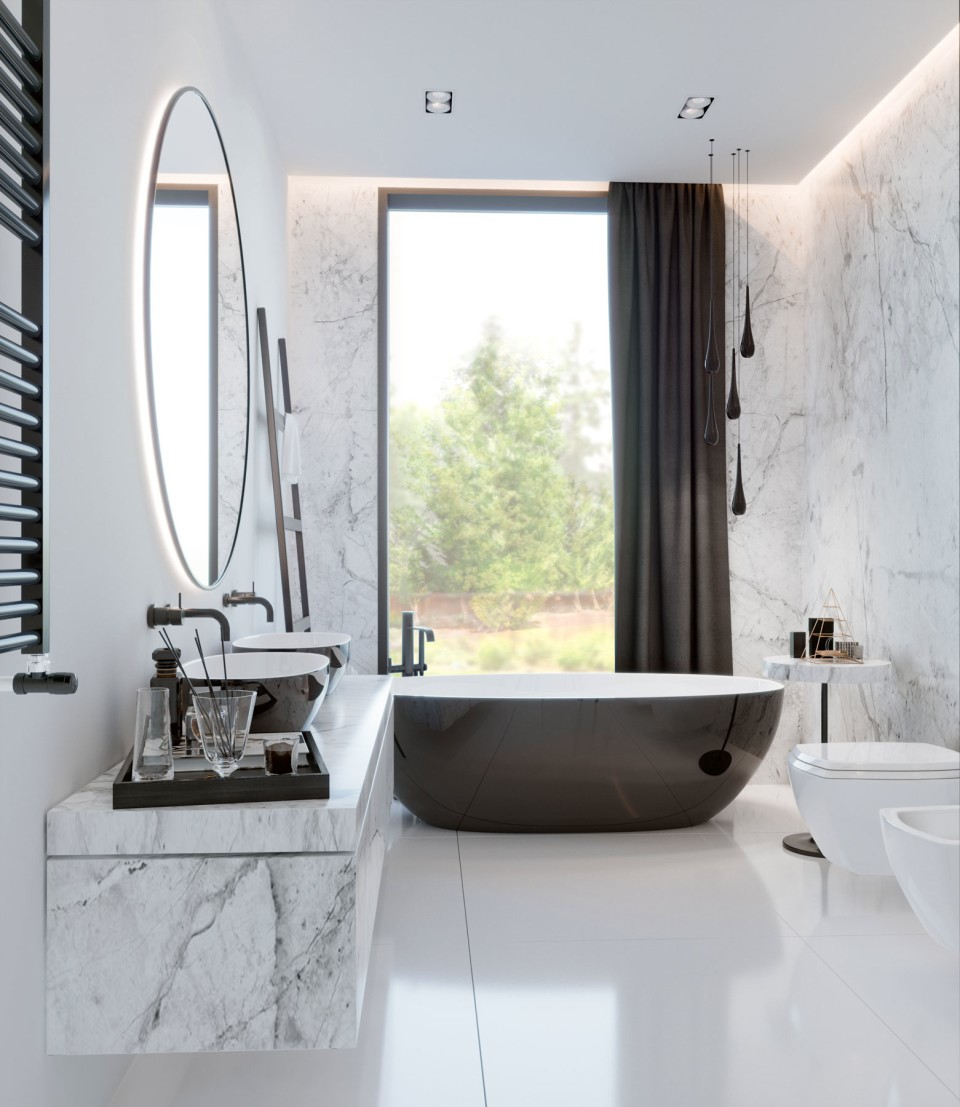интерьер, дизайн, дизайн интерьера, проект, разработка, современный, современный интерьер, светлый, белый, загородный дом, частный дом, санузел, су, ванная