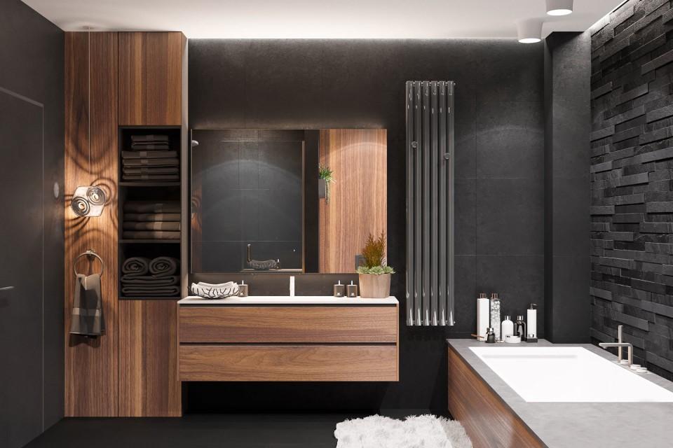 дизайн, проект, интерьер, квартира, ремонт, санузел, ванна, ванная комната, туалет, современный, стильный, квартира для молодого парня, квартира холостяка, квартира для студента, молодежный интерьер, деревянный, темный