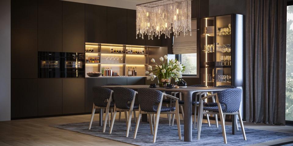 интерьер, дизайн, дизайн интерьера, проект, разработка, современный, современный интерьер, темный, серый, загородный дом, частный дом, гостиная, кухня, столовая
