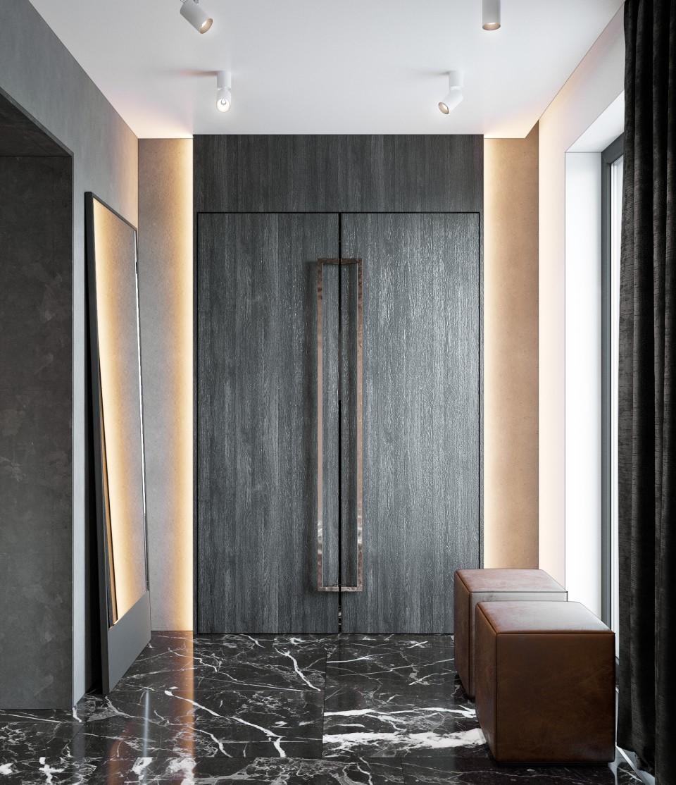 интерьер, дизайн, дизайн интерьера, проект, разработка, современный, современный интерьер, темный, серый, загородный дом, частный дом, прихожая, холл, лестница