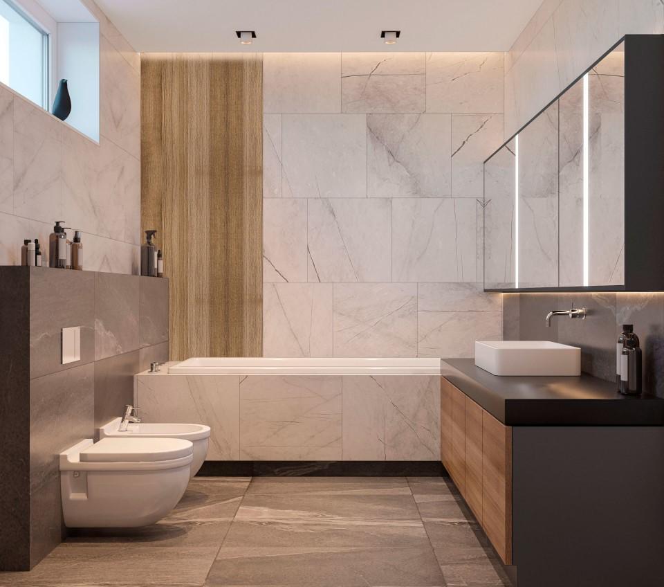 интерьер, дизайн, дизайн интерьера, проект, разработка, современный, современный интерьер, темный, зеленый, загородный дом, частный дом, хозяйский санузел, ванная