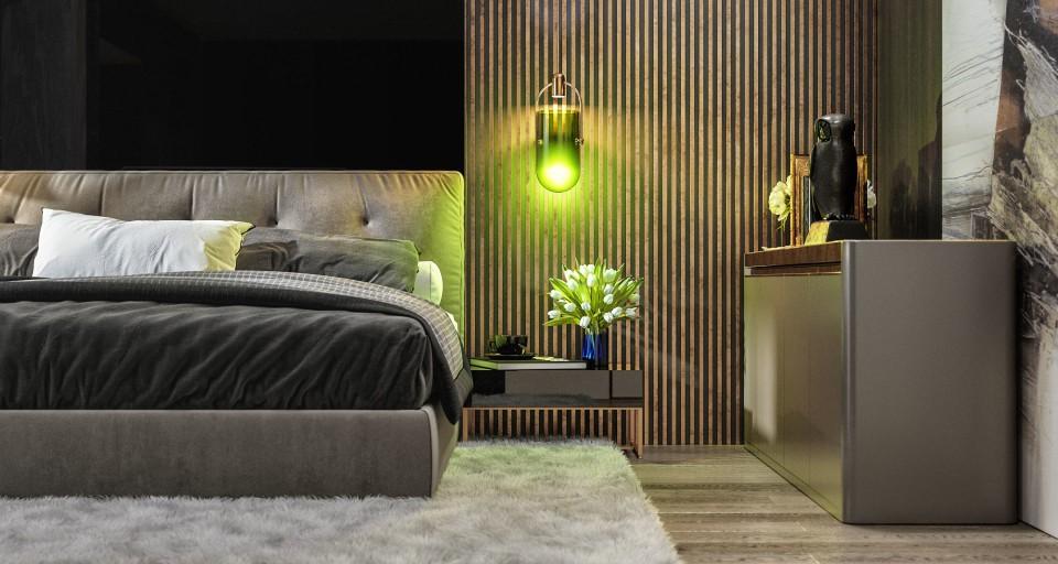 интерьер, дизайн, дизайн интерьера, проект, разработка, современный, современный интерьер, темный, серый, загородный дом, частный дом, спальня