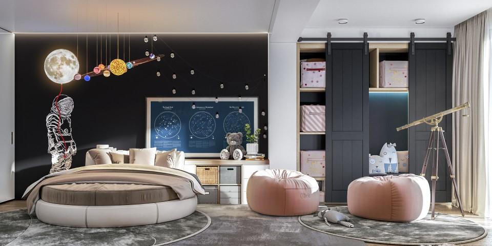 интерьер, дизайн, дизайн интерьера, проект, разработка, современный, современный интерьер, темный, серый, загородный дом, частный дом, детская