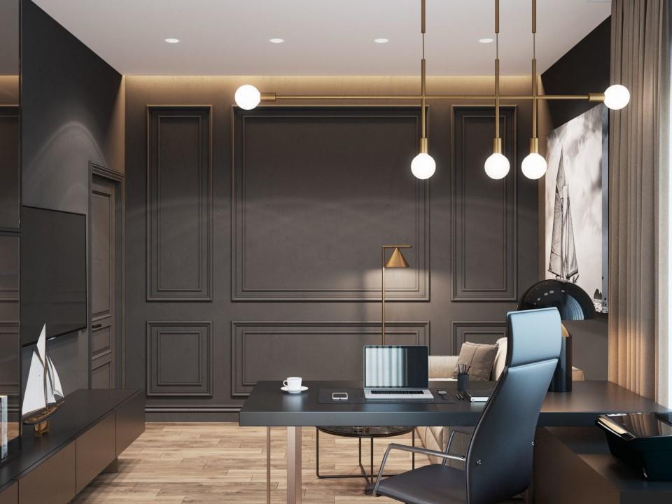 интерьер, дизайн, дизайн интерьера, проект, разработка, современный, современный интерьер, темный, зеленый, загородный дом, частный дом, кабинет