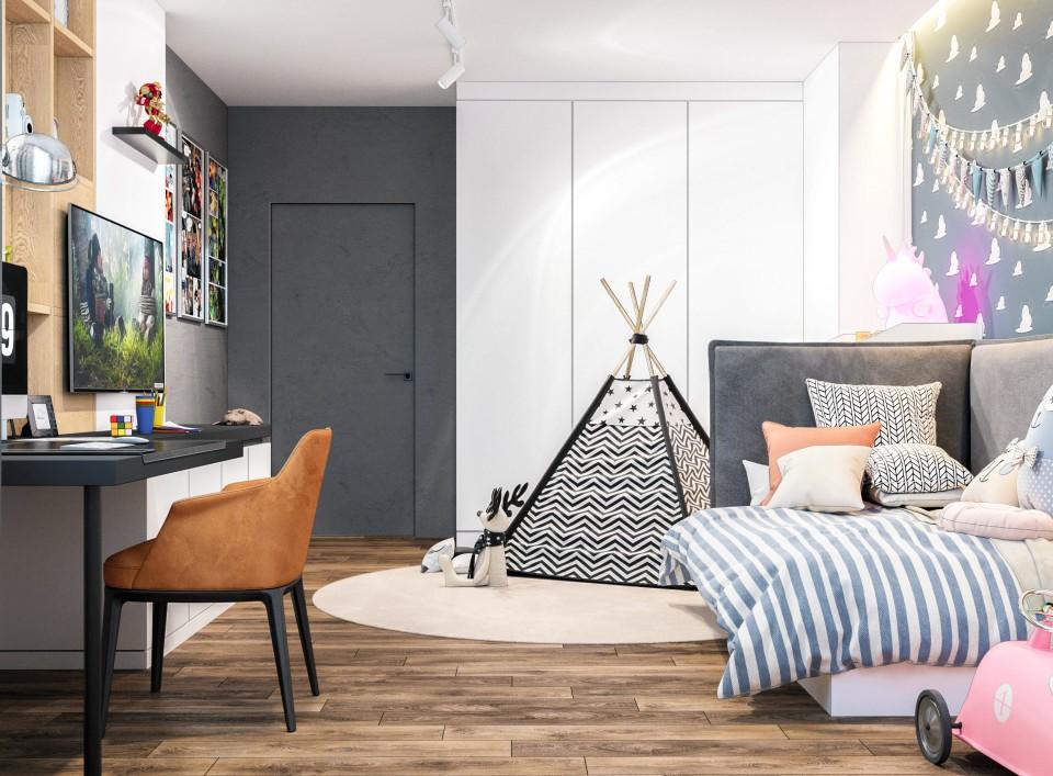 интерьер, дизайн, дизайн интерьера, проект, разработка, современный, современный интерьер, светлый, белый, квартира, загородный дом, частный дом, детская