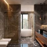 интерьер, дизайн, дизайн интерьера, проект, разработка, современный, современный интерьер, темный, серый, загородный дом, частный дом, хозяйская ванная, ванная