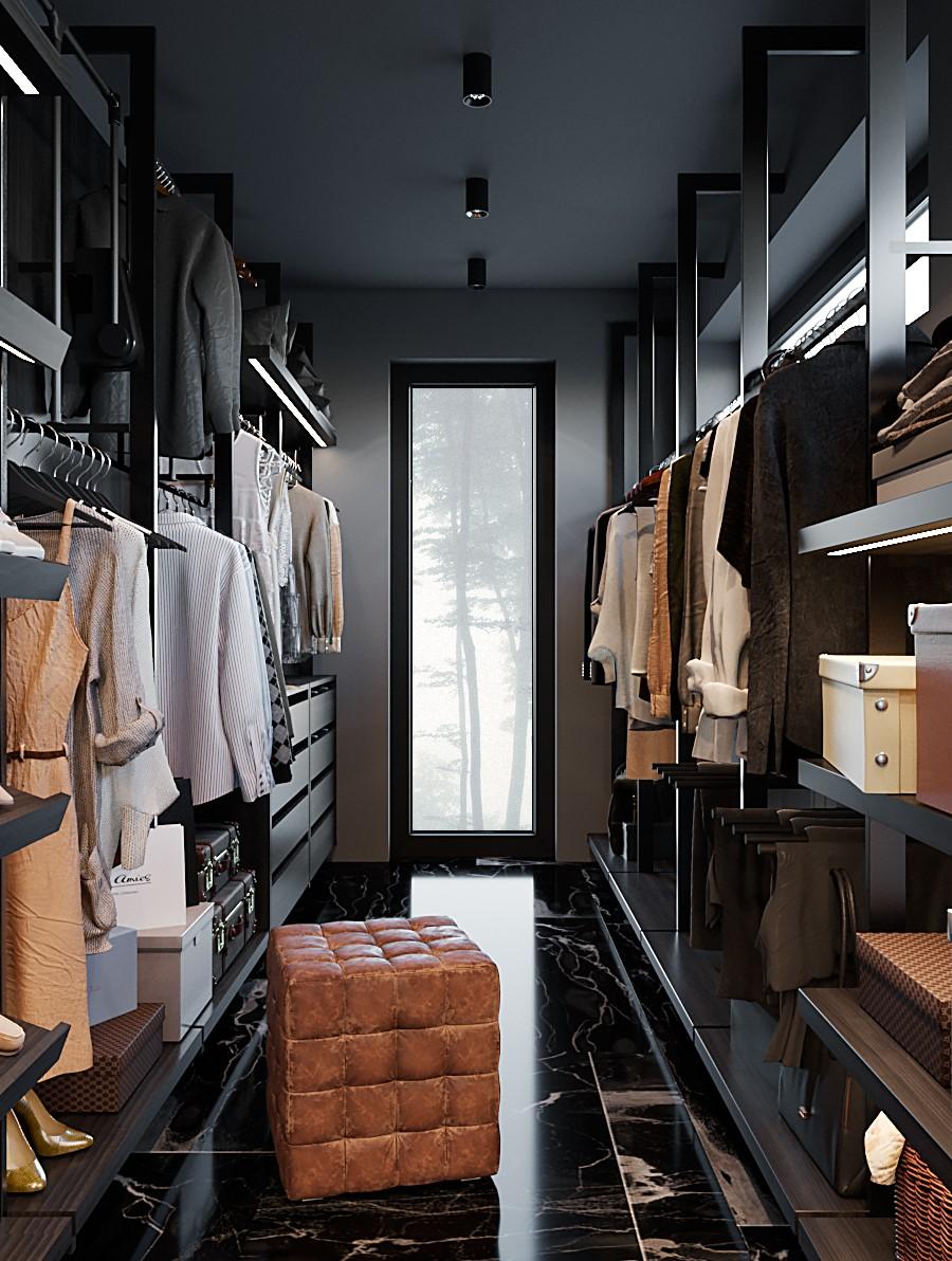 интерьер, дизайн, дизайн интерьера, проект, разработка, современный, современный интерьер, темный, серый, загородный дом, частный дом, гардероб
