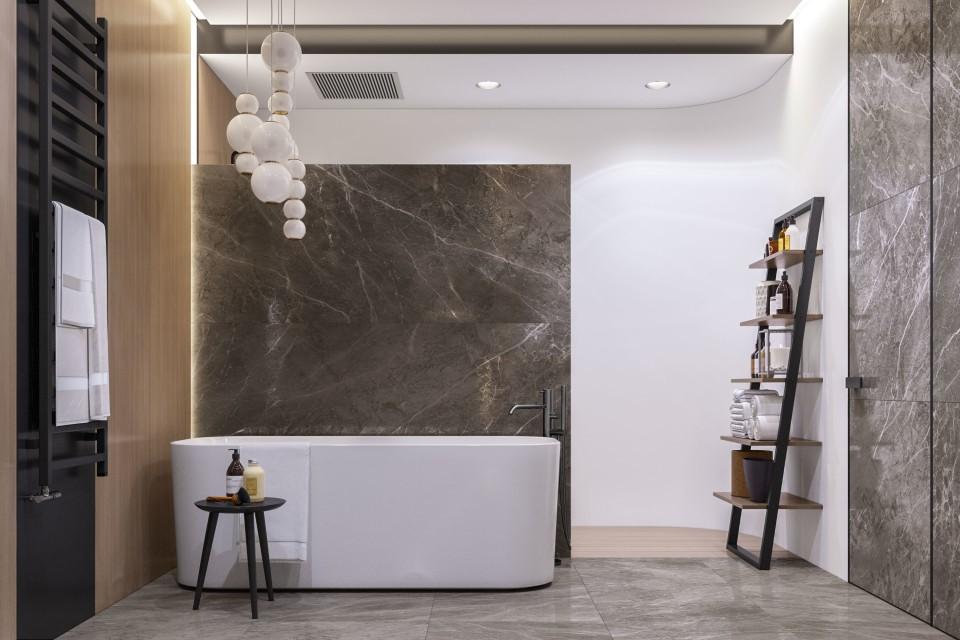 интерьер, дизайн, дизайн интерьера, проект, разработка, современный, современный интерьер, светлый, белый, квартира, загородный дом, частный дом, хозяйская ванна, хозяйский санузел
