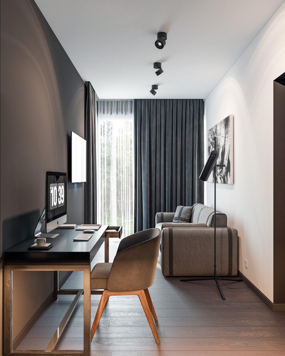 интерьер, дизайн, дизайн интерьера, проект, разработка, современный, современный интерьер, темный, серый, загородный дом, частный дом, кабинет