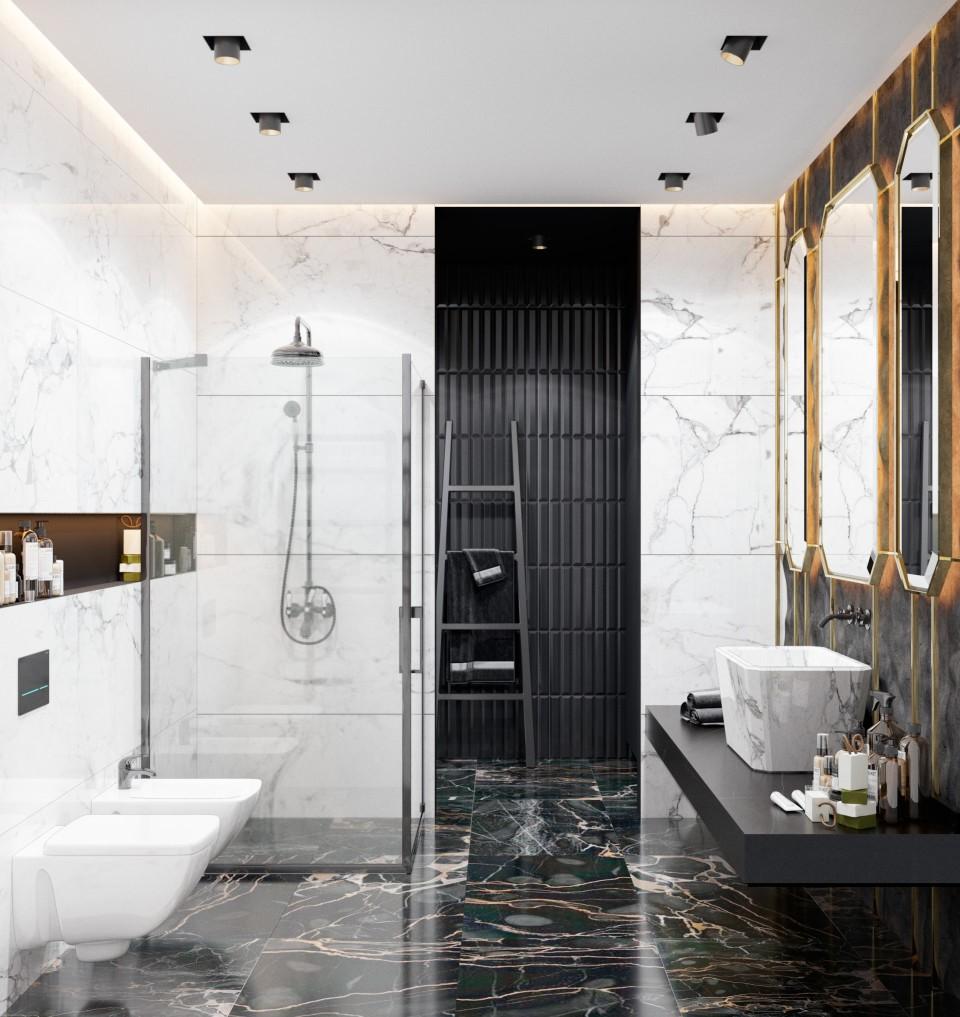 интерьер, дизайн, дизайн интерьера, проект, разработка, современный, современный интерьер, темный, серый, загородный дом, частный дом, гостевой санузел