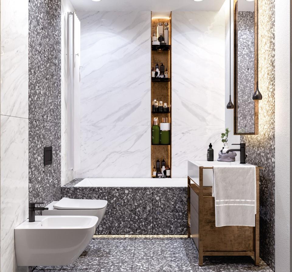 интерьер, дизайн, дизайн интерьера, проект, разработка, современный, современный интерьер, светлый, белый, квартира, загородный дом, частный дом, гостевой санузел, санузел