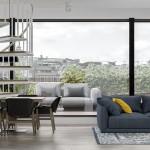 интерьер, дизайн, двухуровневая, дизайн интерьера, проект, разработка, современный, современный интерьер, светлый, белый, квартира, загородный дом, частный дом, гостиная, кухня, столовая, библиотека